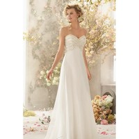 Gorgeous Strapless Sweetheart Neckline Chiffon Wedding Dress