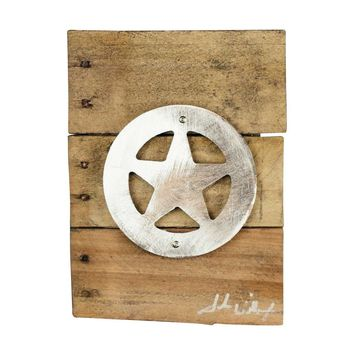 Texas Ranger Star Wood & Shaped Metal Art Wall Decor