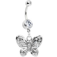 Antiqued Silver Tone Crystalline Gem Butterfly Belly Ring