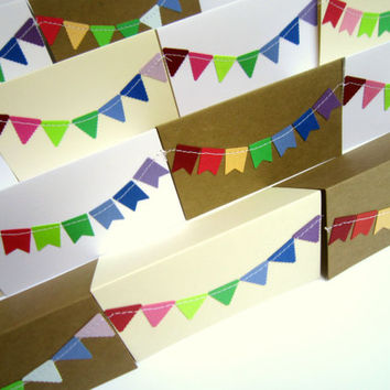 2 x 3.5 Mini Thank You Cards with Envelope / Lunch Box Notes / Blank Note Cards / Bunting Flag Cards/ Assorted Rainbow Flags / Set of 12