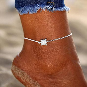 Silver Dolphin Beaded Boho Anklet