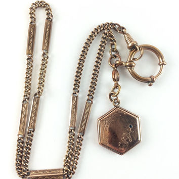 Vintage Victorian Watch Chain Fob Rose Gold Filled Pendant Horseshoe Locket Charm Necklace Antique Jewelry