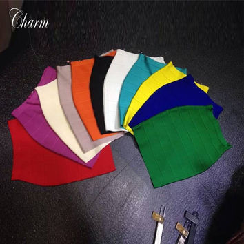 2017 brand quality new red green bule withe nude yellow pink black bandage skirt ladies bodycon prom party mini skirts