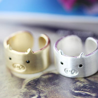 1piece Pig Ring Simple Animal Wide Open Ring Jewelry Wrap Ring Adjustable Free Size Gold Silver gift idea