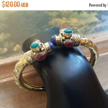 80% OFF SALE Cherry Ruby  Cuff Bracelet Turquoise Bangle Lapis Lazuli Gemstone Adjustable Solid Golden Brass