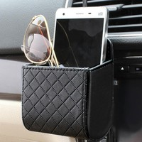 DEDC PU Leather Car Outlet Air Vent Trash Box Auto Mobile Phone Holder Bag Pouch Organizer Hanging Box Car Styling