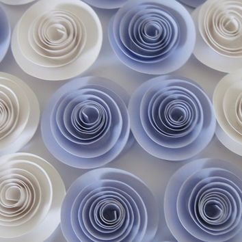"lilac and white paper flowers set of 12, Gender neutral baby shower decorations, 1.5"" roses, 3D Table Scatter Centerpiece, Wedding Decor"
