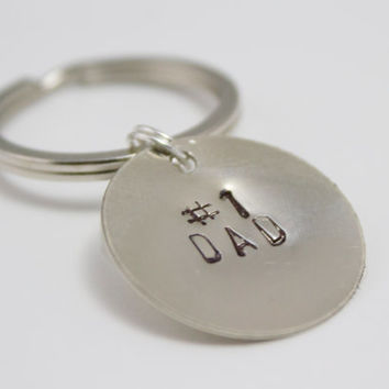 Number One Dad / Grandpa Father's Day Handstamped Copper Keychain - Father's Day, Gifts for Men, Grandpa Gift