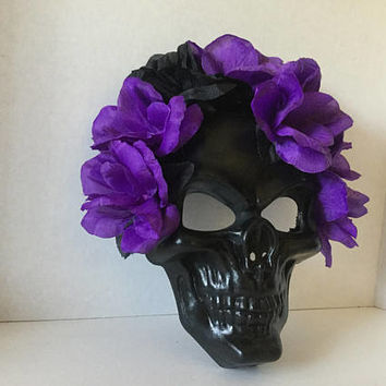 Mask,Black Skull Mask,Halloween Mask,Purple Flower Mask,Day of the Dead Mask,Handmade Mask,Party Mask