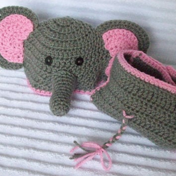Baby Elephant hat and diaper cover, newborn elephant diaper cover set, crochet elephant hat, newborn photo prop, elephant diaper cover