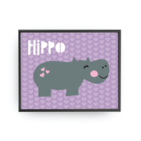 Hippo Typography, Nursery Art, Cute Hippo, Kids Print, Children Poster, Educational Art, Baby Poster, Typography Poster, Classroom Decor