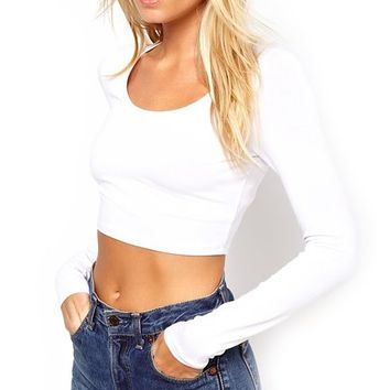 Top - Crop Top, Long Sleeve (White, X-Small)