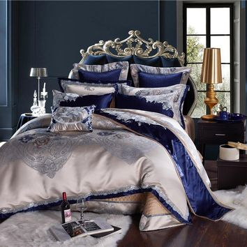 4/6/10Pcs Blue Silver Luxury Bedding set Queen King size Cotton Bed/Flat sheet Bed spread set Satin Duvet cover juego de cama