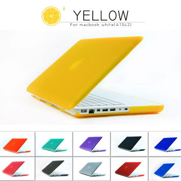 """Case for Apple Laptop,Rubberized(Matte) Hard Cover For Mac Book White 13"""" MC 516 MC207 A1342 Free Keyboard Cover"""