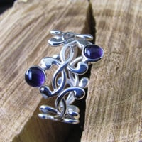 Argentium sterling  woven ring with amethysts