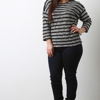 Mixed Knit Stripes Quarter Sleeve Top