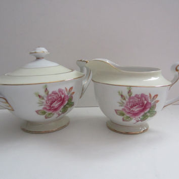 FUJI Rosette China Japan Creamer and Sugar  1940s Vintage Fine china