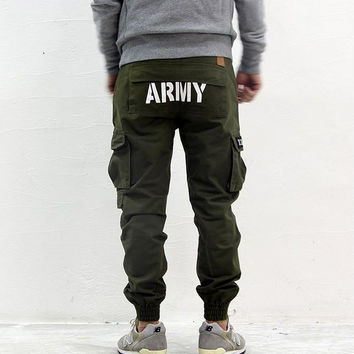 Male shrink mouth multi bag leisure pants