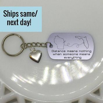 Distance Means Nothing, Long Distance Friendship, Long Distance Relationship, Boyfriend gift, Custom Engraved Keychain, Deployment Keychain