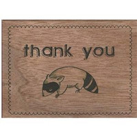 Wood Folding Card Raccoon Thank You