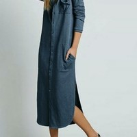 Blue Button Up Side Split Longline Shirt Dress - Choies.com