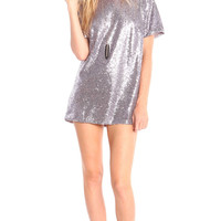 SPARKLE SEQUIN SHORT SLEEVE TUNIC DRESS