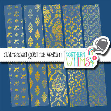 Gold Foil Vellum Digital Paper Pack – distressed vellum papers for wedding and shower  invitations & scrapbooking – instant download – CU OK