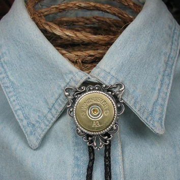12 Gauge Shotgun Casing Fancy Black Braided Leather Silver Bolo Tie