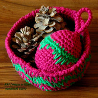 Red and Green Basket Set - Holiday Basket and Matching Ornament - Rustic Basket Set - Eco Friendly Basket - Holiday Decor - Earthy Decor
