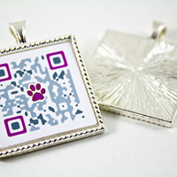 QR Code Tag For Pets Purple/Gray by WagAvenue on Etsy