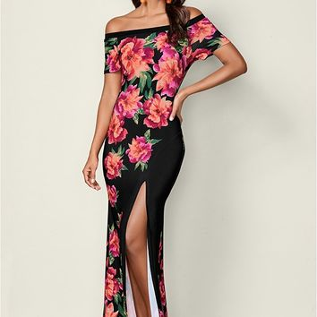 Black Multi Floral Print Maxi Dress from VENUS