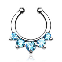 Fake Faux Septum - Aqua Gem Nose Ring Hanger Five Paved Non-Piercing Opal Cuff