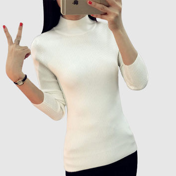 Women Sweater Women fashion Slim Solid Autumn and Winter Knitted Warm Turtleneck Pullover Women Sweater