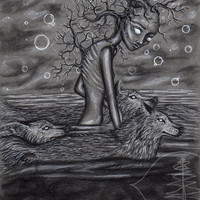 Charcoal Drawing of A Girl with Wolves
