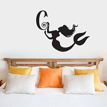 Mermaid Silhouette with Custom Monogram Initial Vinyl Wall Words Decal Sticker Graphic