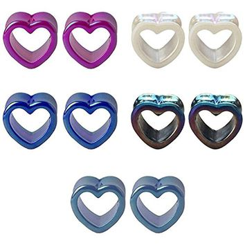 BodyJ4You 10PC Gauge Plugs Tunnels Acrylic Glossy Heart Double Flare Multicolor Ear Expander 2G-14mm