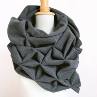 geometric wool shawl - superwarm sculptural wrap - triangular 100% wool scarf
