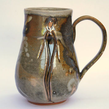 Unique Rustic Handmade Pottery Mug, 20 oz Metallic Ceramic Mug Cup. Handmade Stoneware Rustic  mug with figure.
