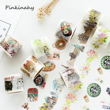 4 pcs/lot 40mm Wide Kawaii Girl Coffee Cat Building Food washi tape scrapbooking planner masking tape adhesive tape Stick Label