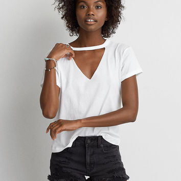 AEO Shrunken Choker T-Shirt, White