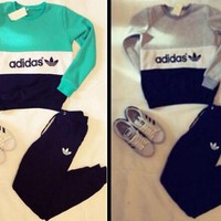 ADIDAS Color printing letters - hoodies women TOP AND TWO PIECE SUIT GREEN