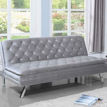Silver velvet fabric upholstered folding sofa / futon bed with tufted accents