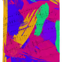 Groovy Paint Brush Strokes and Music Notes TOWEL