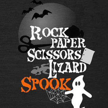 Geeky Rock Paper Scissors Lizard Spook Poster | Nerdy Halloween Decorations | Scientist, Biologist, Physicist, Big Bang Theory, Student