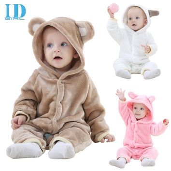 IDGIRL Baby Winter Romper 2017 Flannel Newborn Baby Boys Clothing Animal Baby Onesuit Jumpsuit Baby Pink Girls One Piece JY018