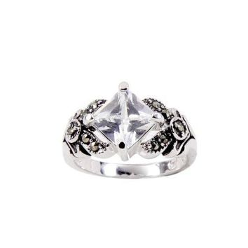 Sterling Silver Clear Special Square Cut Cubic Zirconia Ring With Antique Side Details and Genuine Marcasite Stones in Rhodium Plate Finish