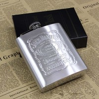 Portable Stainless Steel Hip Flask 7oz Embossed Flagon Flasks Russian Wine Beer