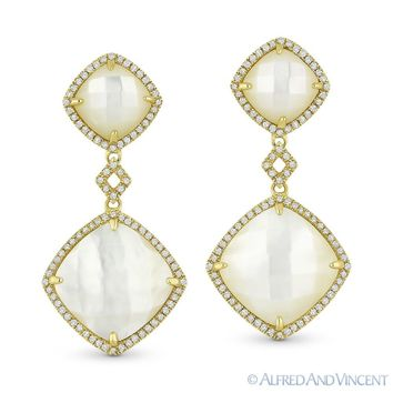 Mother-of-Pearl 0.40ct Round Cut Diamond 14k Yellow Gold Dangling Drop Earrings