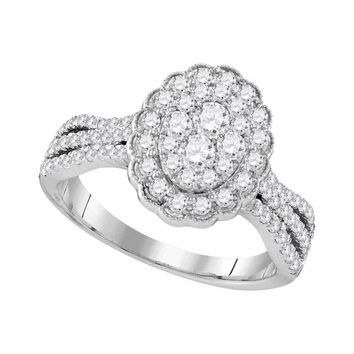 10kt White Gold Women's Round Diamond Oval Flower Cluster Ring 1.00 Cttw - FREE Shipping (USA/CAN)