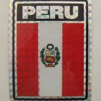 "Peru Flag Decal Bandera Reflective  3""x4"" Adhesive Car Bumper Sticker"